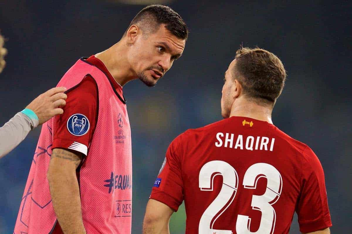 NAPLES, ITALY - Tuesday, September 17, 2019: Liverpool's Dejan Lovren (L) and Xherdan Shaqiri during the UEFA Champions League Group E match between SSC Napoli and Liverpool FC at the Studio San Paolo. (Pic by David Rawcliffe/Propaganda)