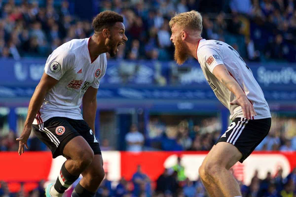 LIVERPOOL, ENGLAND - Saturday, September 21, 2019: Sheffield United's Lys Mousset (L) celebrates scoring the second goal with team-mate Oliver McBurnie during the FA Premier League match between Everton FC and Sheffield United FC at Goodison Park. Sheffield United won 2-0. (Pic by David Rawcliffe/Propaganda)