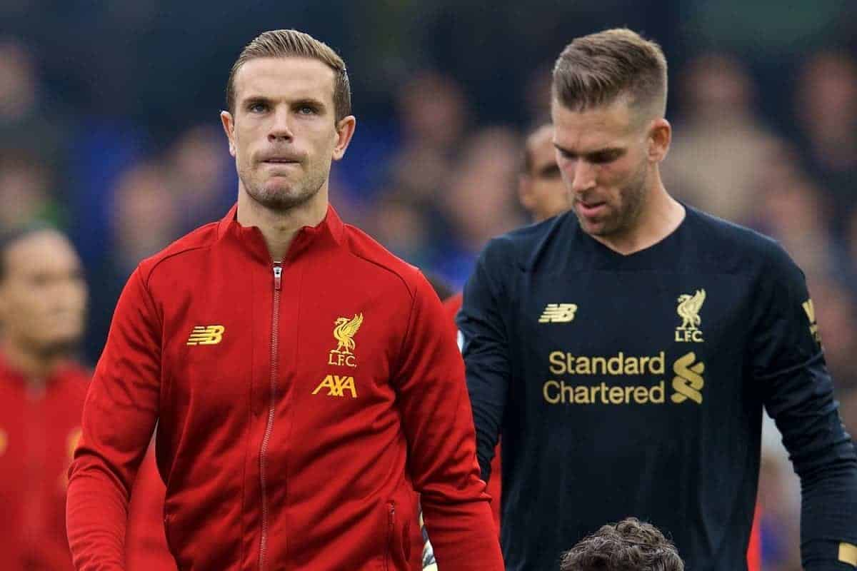 LONDON, ENGLAND - Sunday, September 22, 2019: Liverpool's captain Jordan Henderson leads his side out before the FA Premier League match between Chelsea FC and Liverpool FC at Stamford Bridge. (Pic by David Rawcliffe/Propaganda)