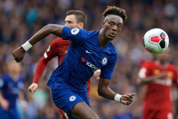 Chelsea's Tammy Abraham during the FA Premier League match between Chelsea FC and Liverpool FC at Stamford Bridge. (Pic by David Rawcliffe/Propaganda)
