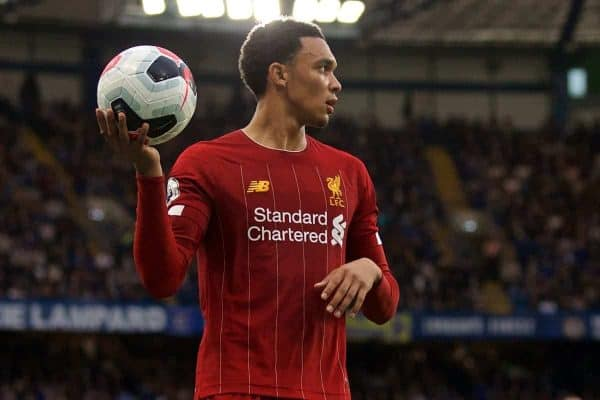 LONDON, ENGLAND - Sunday, September 22, 2019: Liverpool's Trent Alexander-Arnold prepares to take a throw-in during the FA Premier League match between Chelsea's FC and Liverpool FC at Stamford Bridge. (Pic by David Rawcliffe/Propaganda)