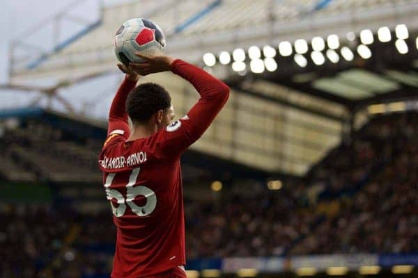 Liverpool's Trent Alexander-Arnold prepares to take a throw-in during the FA Premier League match between Chelsea's FC and Liverpool FC at Stamford Bridge. (Pic by David Rawcliffe/Propaganda)