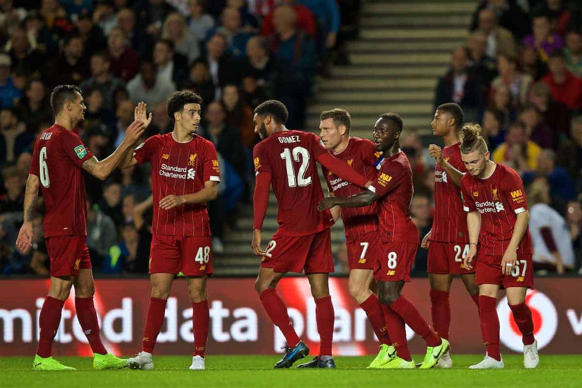 MILTON KEYNES, ENGLAND - Wednesday, September 25, 2019: Liverpool's James Milner (#7) celebrates scoring the first goal with team-mates during the Football League Cup 3rd Round match between MK Dons FC and Liverpool FC at Stadium MK. (Pic by David Rawcliffe/Propaganda)
