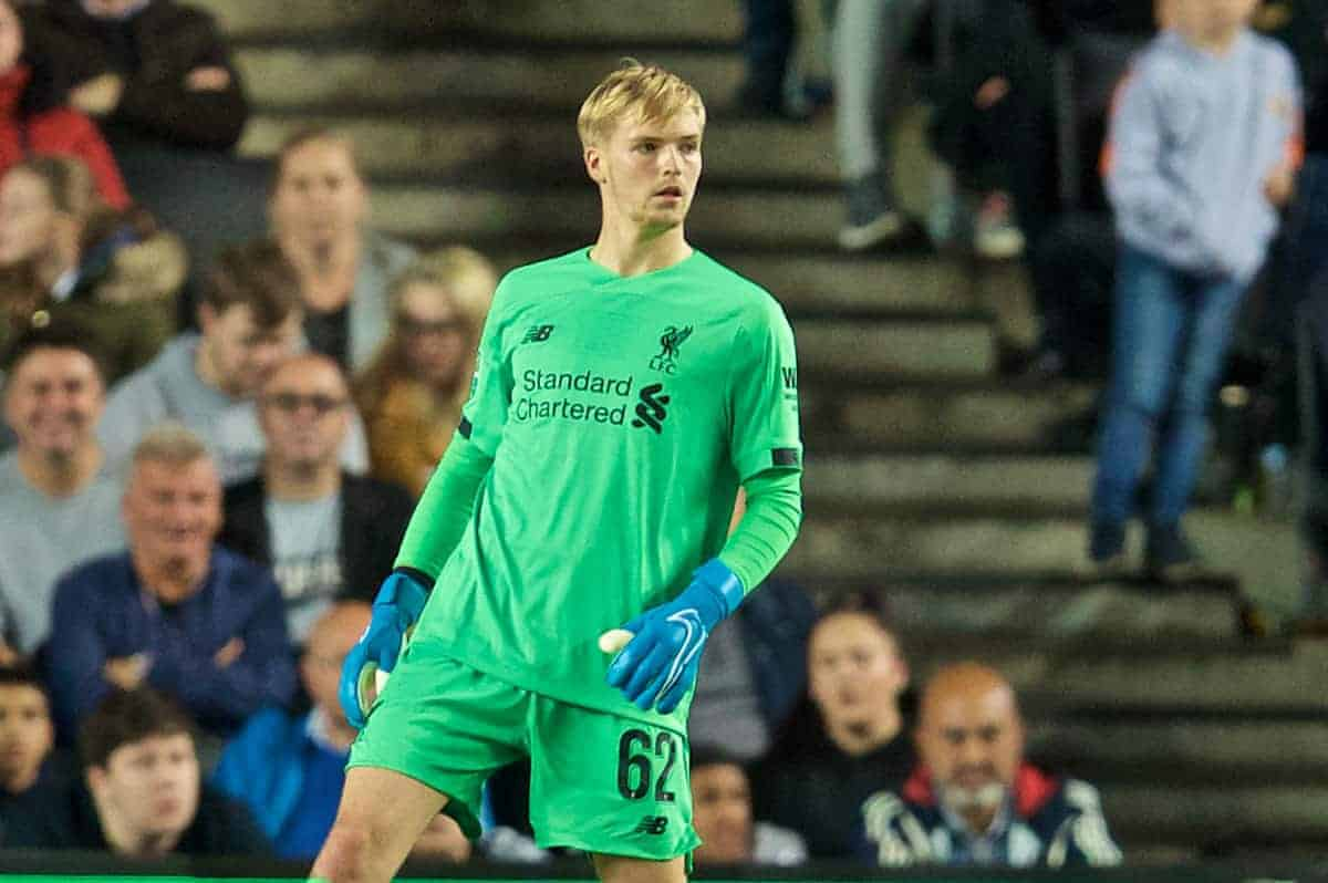 MILTON KEYNES, ENGLAND - Wednesday, September 25, 2019: Liverpool's goalkeeper Caoimhin Kelleher during the Football League Cup 3rd Round match between MK Dons FC and Liverpool FC at Stadium MK. (Pic by David Rawcliffe/Propaganda)