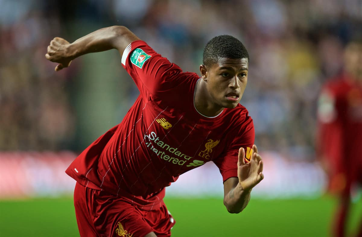 MILTON KEYNES, ENGLAND - Wednesday, September 25, 2019: Liverpool's Rhian Brewster during the Football League Cup 3rd Round match between MK Dons FC and Liverpool FC at Stadium MK. (Pic by David Rawcliffe/Propaganda)