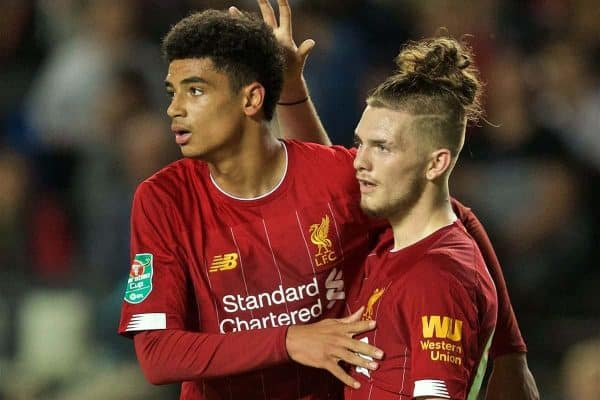 MILTON KEYNES, ENGLAND - Wednesday, September 25, 2019: Liverpool's Ki-Jana Hoever (L) celebrates scoring the second goal with team-mate Harvey Elliott during the Football League Cup 3rd Round match between MK Dons FC and Liverpool FC at Stadium MK. (Pic by David Rawcliffe/Propaganda)