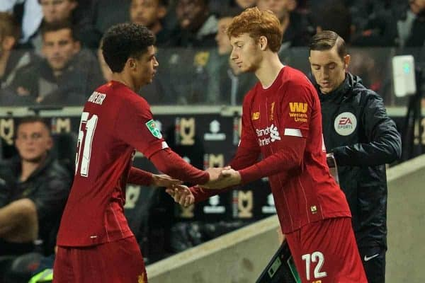 MILTON KEYNES, ENGLAND - Wednesday, September 25, 2019: Liverpool's Ki-Jana Hoever is replaced by substitute Sepp Van Den Berg during the Football League Cup 3rd Round match between MK Dons FC and Liverpool FC at Stadium MK. (Pic by David Rawcliffe/Propaganda)