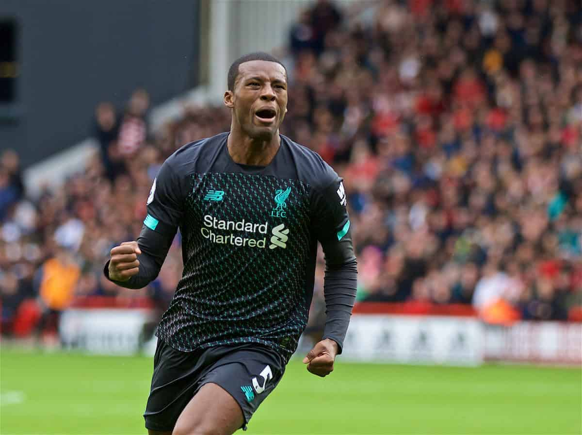 SHEFFIELD, ENGLAND - Thursday, September 26, 2019: Liverpool's Georginio Wijnaldum celebrates scoring the only goal of the game during the FA Premier League match between Sheffield United FC and Liverpool FC at Bramall Lane. Liverpool won 1-0. (Pic by David Rawcliffe/Propaganda)