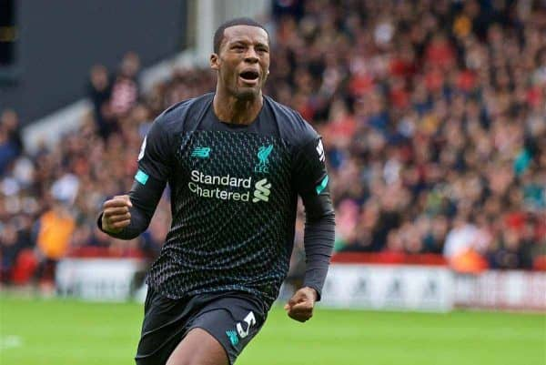 Liverpool's Georginio Wijnaldum celebrates scoring the only goal of the game during the FA Premier League match between Sheffield United FC and Liverpool FC at Bramall Lane. Liverpool won 1-0. (Pic by David Rawcliffe/Propaganda)