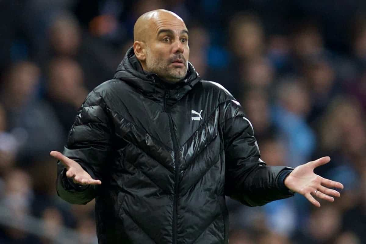 MANCHESTER, ENGLAND - Tuesday, October 1, 2019: Manchester City's head coach Pep Guardiola reacts during the UEFA Champions League Group C match between Manchester City FC and GNK Dinamo Zagreb at the City of Manchester Stadium. (Pic by David Rawcliffe/Propaganda)