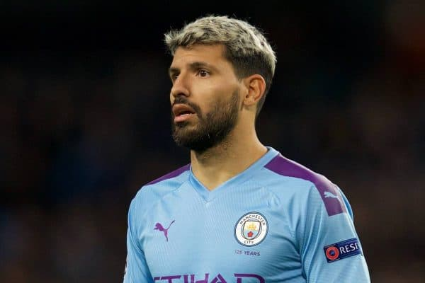 MANCHESTER, ENGLAND - Tuesday, October 1, 2019: Manchester City's Sergio Agüero during the UEFA Champions League Group C match between Manchester City FC and GNK Dinamo Zagreb at the City of Manchester Stadium. (Pic by David Rawcliffe/Propaganda)