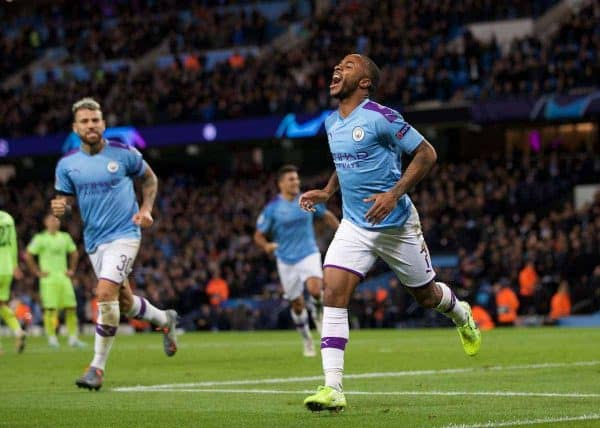 MANCHESTER, ENGLAND - Tuesday, October 1, 2019: Manchester City's Raheem Sterling celebrates scoring the first goal during the UEFA Champions League Group C match between Manchester City FC and GNK Dinamo Zagreb at the City of Manchester Stadium. MK Dons won 2-0. (Pic by David Rawcliffe/Propaganda)