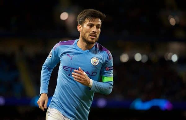 MANCHESTER, ENGLAND - Tuesday, October 1, 2019: Manchester City's David Silva during the UEFA Champions League Group C match between Manchester City FC and GNK Dinamo Zagreb at the City of Manchester Stadium. (Pic by David Rawcliffe/Propaganda)