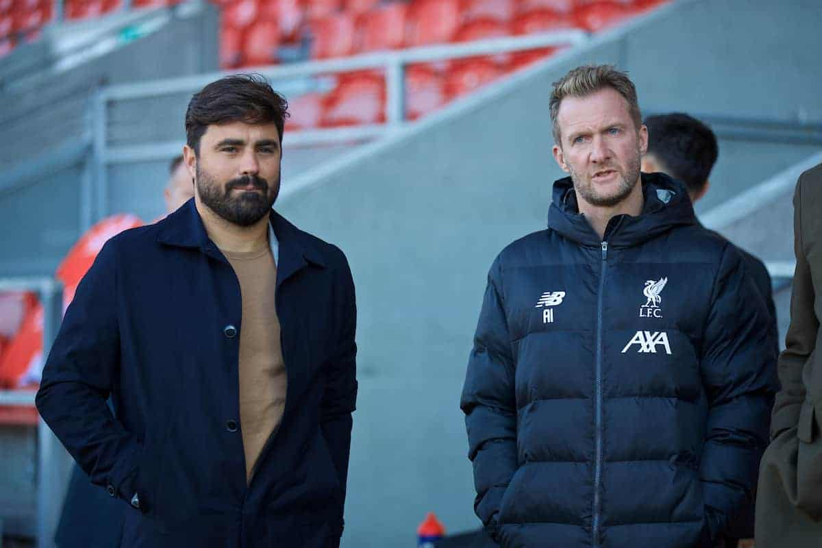 ST HELENS, ENGLAND - Wednesday, October 2, 2019: Liverpool's elite development coach Vitor Matos (L) and Academy Director Alex Inglethorpe (R) before the UEFA Youth League Group E match between Liverpool FC Under-19's and FC Salzburg Under-19's at Langtree Park. (Pic by David Rawcliffe/Propaganda)