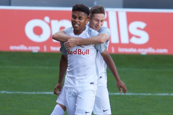 ST HELENS, ENGLAND - Wednesday, October 2, 2019: FC Salzburg's Karim Adeyemi celebrates scoring the first goal during the UEFA Youth League Group E match between Liverpool FC Under-19's and FC Salzburg Under-19's at Langtree Park. (Pic by David Rawcliffe/Propaganda)