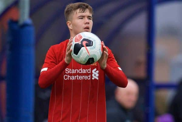 LIVERPOOL, ENGLAND - Saturday, October 5, 2019: Liverpool's Jack Walls prepares to take a throw-in during the Under-18 FA Premier League match between Everton FC and Liverpool FC at Finch Farm. (Pic by David Rawcliffe/Propaganda)