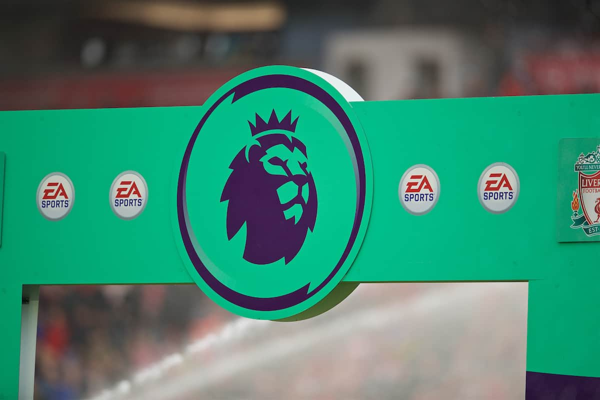 LIVERPOOL, ENGLAND - Saturday, October 5, 2019: EA Sports branding on the Premier League arch during the FA Premier League match between Liverpool FC and Leicester City FC at Anfield. (Pic by David Rawcliffe/Propaganda)