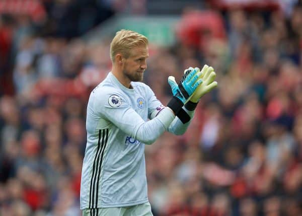 LIVERPOOL, ENGLAND - Saturday, October 5, 2019: Leicester City's goalkeeper Kasper Schmeichel during the FA Premier League match between Liverpool FC and Leicester City FC at Anfield. (Pic by David Rawcliffe/Propaganda)