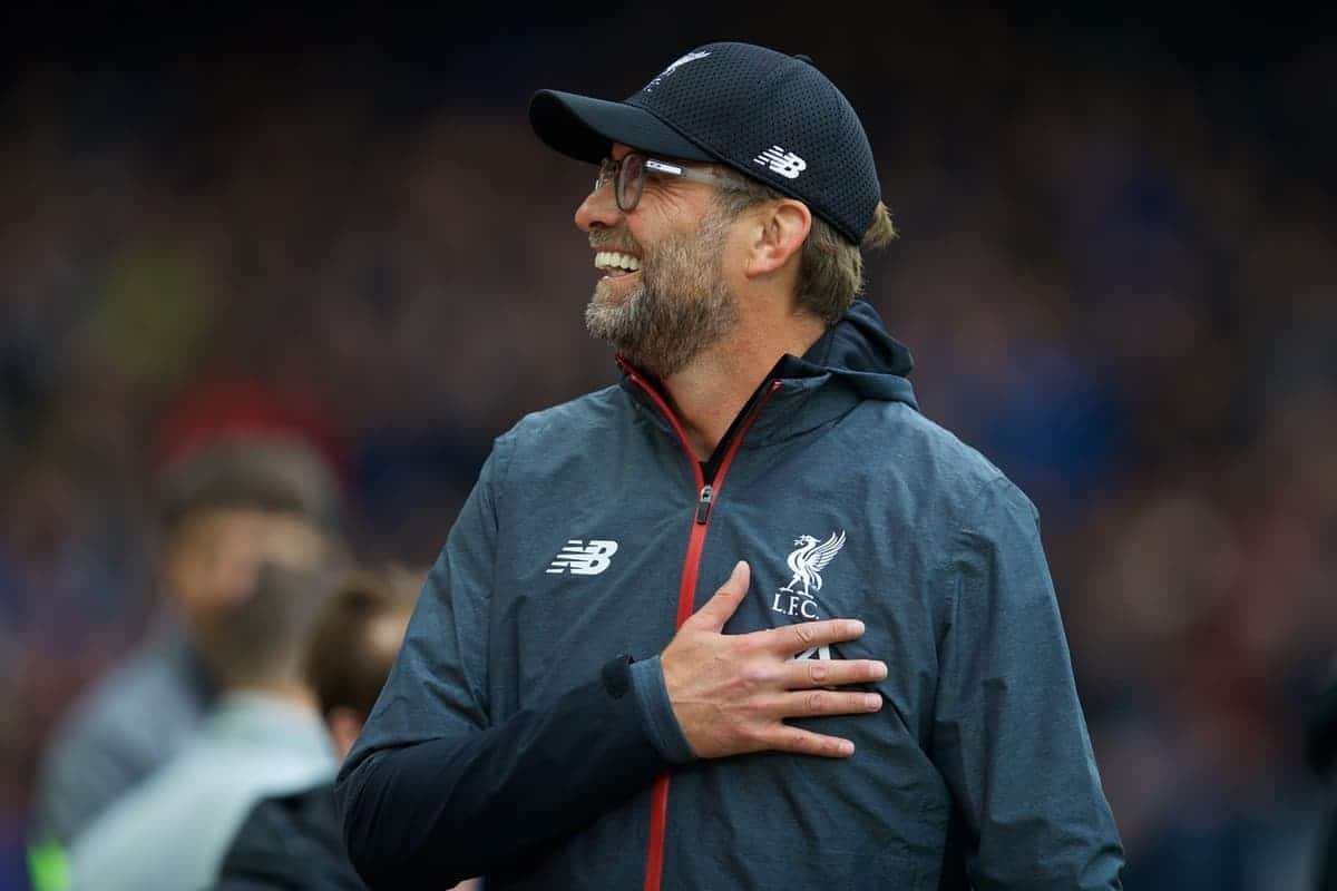 LIVERPOOL, ENGLAND - Saturday, October 5, 2019: Liverpool's manager Jürgen Klopp before the FA Premier League match between Liverpool FC and Leicester City FC at Anfield. (Pic by David Rawcliffe/Propaganda)