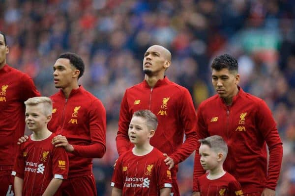 LIVERPOOL, ENGLAND - Saturday, October 5, 2019: Liverpool's Trent Alexander-Arnold, Fabio Henrique Tavares 'Fabinho' and Roberto Firmino line-up before the FA Premier League match between Liverpool FC and Leicester City FC at Anfield. (Pic by David Rawcliffe/Propaganda)