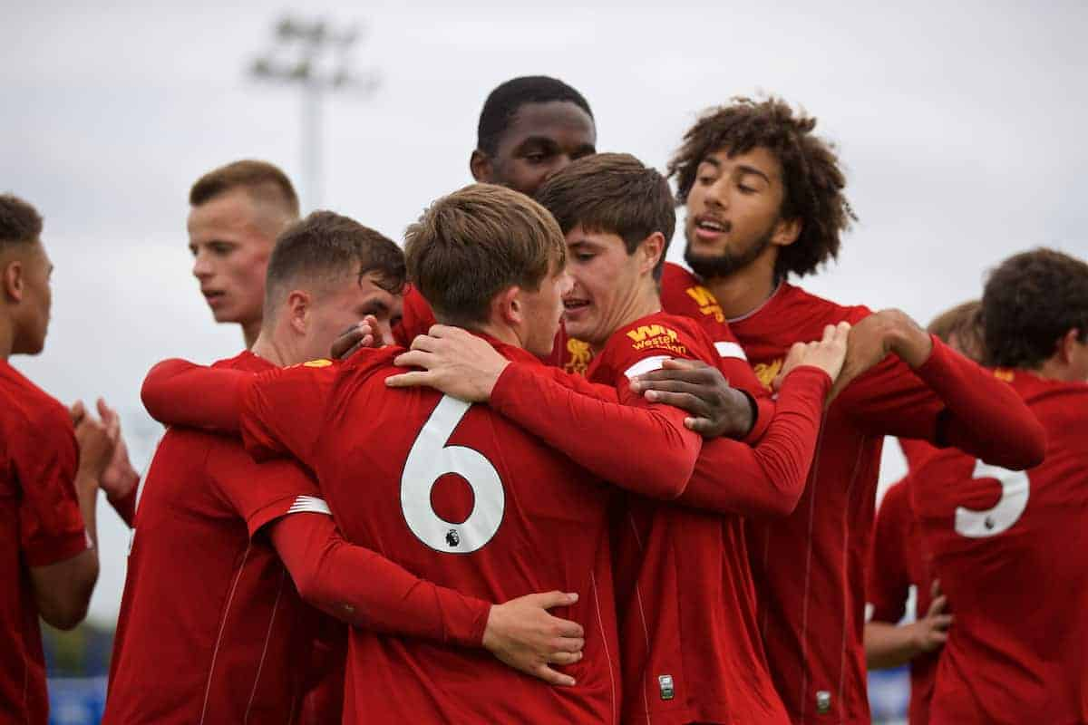 LIVERPOOL, ENGLAND - Saturday, October 5, 2019: Liverpool's Leighton Clarkson (#Leighton Clarkson) celebrates with team-mates after forcing the third goal, an own-goal from Everton's Reece Welch, during the Under-18 FA Premier League match between Everton FC and Liverpool FC at Finch Farm. (Pic by David Rawcliffe/Propaganda)