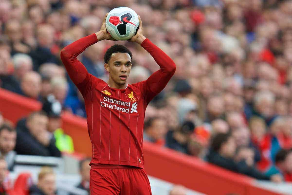 LIVERPOOL, ENGLAND - Saturday, October 5, 2019: Liverpool's Trent Alexander-Arnold prepares to take a throw-in during the FA Premier League match between Liverpool FC and Leicester City FC at Anfield. (Pic by David Rawcliffe/Propaganda)
