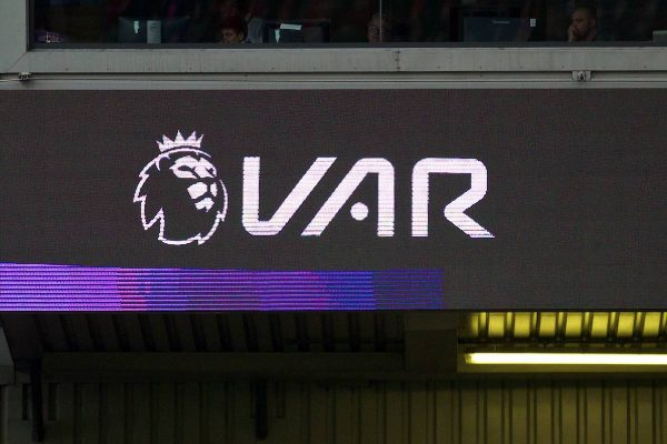 LIVERPOOL, ENGLAND - Saturday, October 5, 2019: The scoreboard shows a VAR review logo during the FA Premier League match between Liverpool FC and Leicester City FC at Anfield. (Pic by David Rawcliffe/Propaganda)