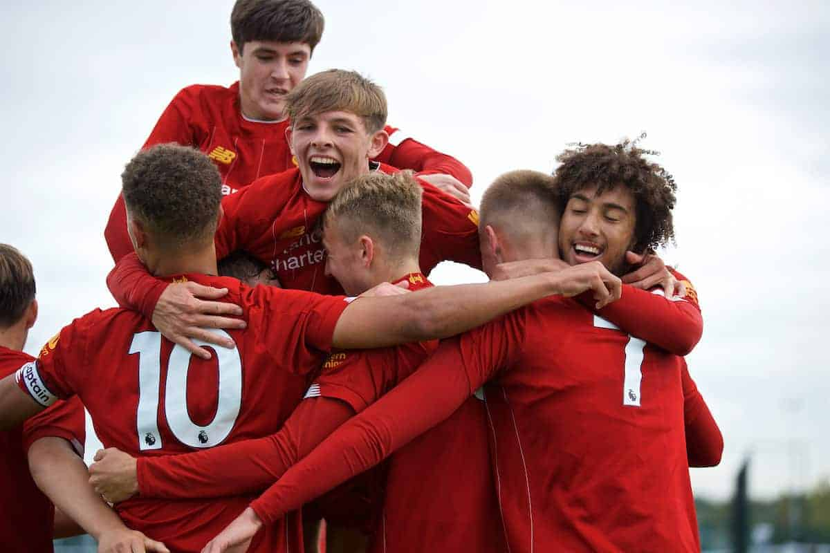 LIVERPOOL, ENGLAND - Saturday, October 5, 2019: Liverpool's Jack Cain (C) celebrates scoring the fourth goal with team-mates during the Under-18 FA Premier League match between Everton FC and Liverpool FC at Finch Farm. (Pic by David Rawcliffe/Propaganda)