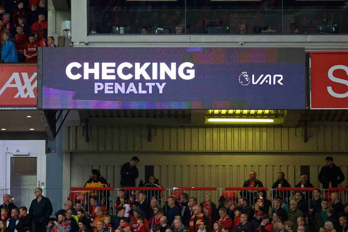LIVERPOOL, ENGLAND - Saturday, October 5, 2019: VAR checks an injury time penalty awarded to Liverpool during the FA Premier League match between Liverpool FC and Leicester City FC at Anfield. Liverpool won 2-1.(Pic by David Rawcliffe/Propaganda)