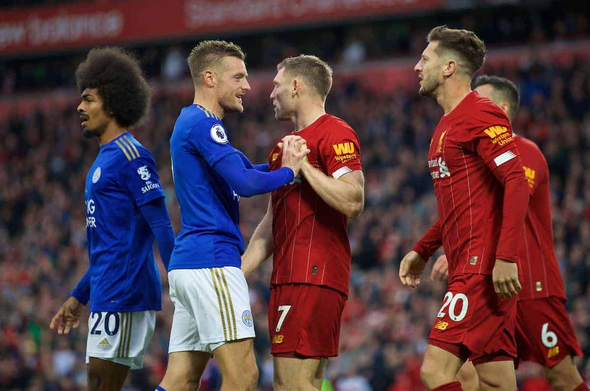 LIVERPOOL, ENGLAND - Saturday, October 5, 2019: Leicester City's Jamie Vardy and Liverpool's James Milner clash after the FA Premier League match between Liverpool FC and Leicester City FC at Anfield. Liverpool won 2-1. (Pic by David Rawcliffe/Propaganda)