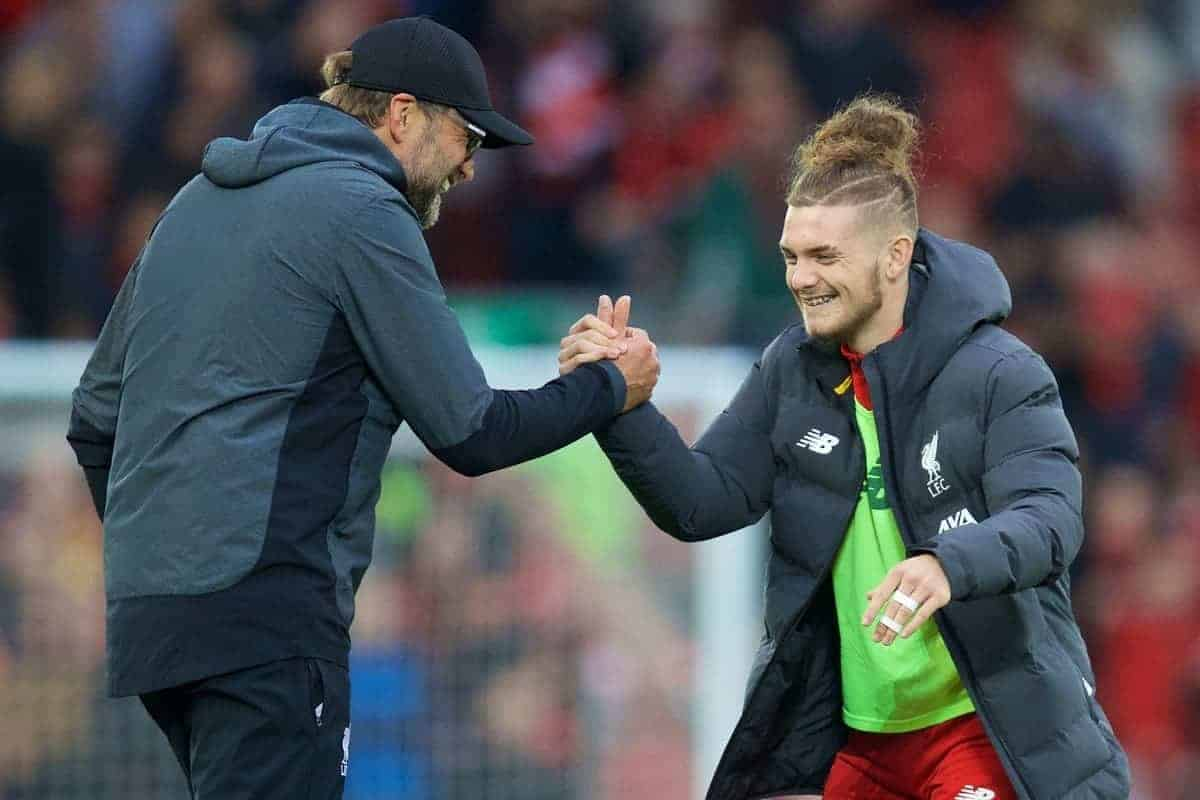 LIVERPOOL, ENGLAND - Saturday, October 5, 2019: Liverpool's manager Jürgen Klopp celebrates with Harvey Elliott after the FA Premier League match between Liverpool FC and Leicester City FC at Anfield. Liverpool won 2-1. (Pic by David Rawcliffe/Propaganda)