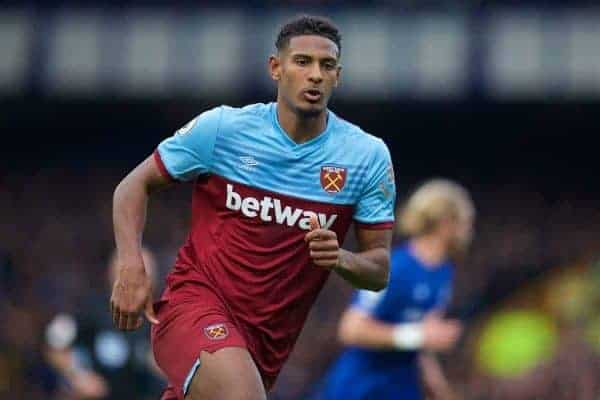 West Ham United's Sébastien Haller during the FA Premier League match between Everton FC and West Ham United FC at Goodison Park. (Pic by David Rawcliffe/Propaganda)