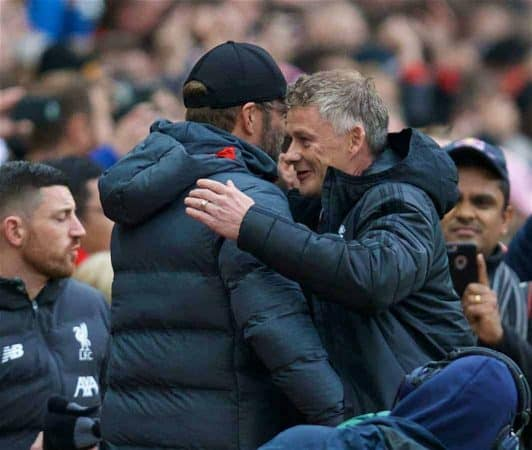 MANCHESTER, ENGLAND - Saturday, October 19, 2019: Liverpool's manager Jürgen Klopp (L) shakes hands with Manchester United's manager Ole Gunnar Solksjaer during the FA Premier League match between Manchester United FC and Liverpool FC at Old Trafford. (Pic by David Rawcliffe/Propaganda)