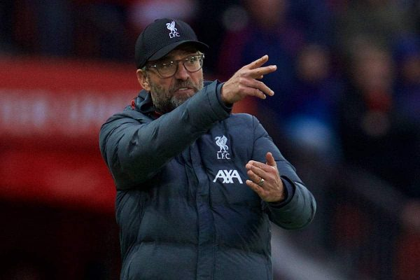 MANCHESTER, ENGLAND - Saturday, October 19, 2019: Liverpool's manager Jürgen Klopp reacts during the FA Premier League match between Manchester United FC and Liverpool FC at Old Trafford. (Pic by David Rawcliffe/Propaganda)