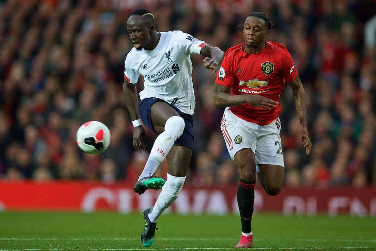 MANCHESTER, ENGLAND - Saturday, October 19, 2019: Liverpool's Sadio Mane (L) and Manchester United's Aaron Wan-Bissaka during the FA Premier League match between Manchester United FC and Liverpool FC at Old Trafford. (Pic by David Rawcliffe/Propaganda)