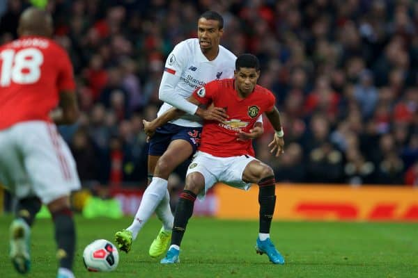 MANCHESTER, ENGLAND - Saturday, October 19, 2019: Liverpool's Joel Matip (L) and Manchester United's Marcus Rashford during the FA Premier League match between Manchester United FC and Liverpool FC at Old Trafford. (Pic by David Rawcliffe/Propaganda)