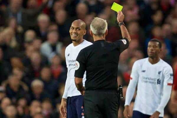 MANCHESTER, ENGLAND - Saturday, October 19, 2019: Liverpool's Fabio Henrique Tavares 'Fabinho' smiles as he is shown a yellow card by referee Martin Atkinson during the FA Premier League match between Manchester United FC and Liverpool FC at Old Trafford. (Pic by David Rawcliffe/Propaganda)