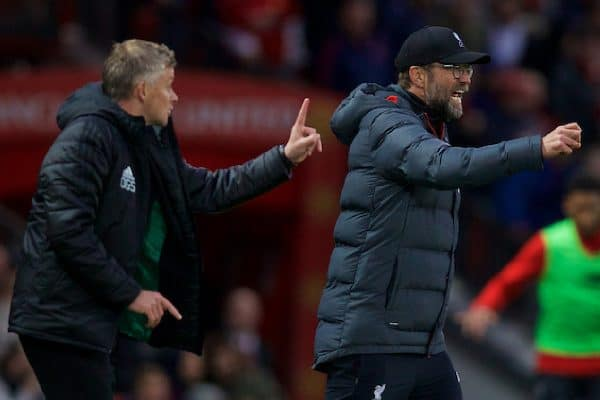 MANCHESTER, ENGLAND - Saturday, October 19, 2019: Liverpool's manager Jürgen Klopp (R) and Manchester United's manager Ole Gunnar Solskjær during the FA Premier League match between Manchester United FC and Liverpool FC at Old Trafford. (Pic by David Rawcliffe/Propaganda)