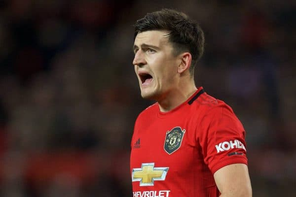 MANCHESTER, ENGLAND - Saturday, October 19, 2019: Manchester United's Harry Maguire during the FA Premier League match between Manchester United FC and Liverpool FC at Old Trafford. (Pic by David Rawcliffe/Propaganda)