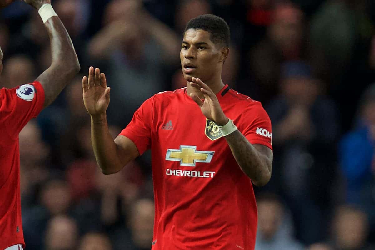 MANCHESTER, ENGLAND - Saturday, October 19, 2019: Manchester United's Marcus Rashford is substituted during the FA Premier League match between Manchester United FC and Liverpool FC at Old Trafford. (Pic by David Rawcliffe/Propaganda)