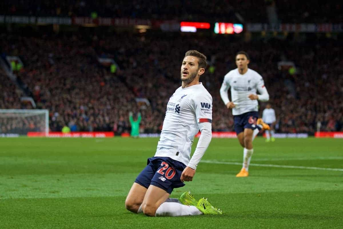 MANCHESTER, ENGLAND - Saturday, October 19, 2019: Liverpool's Adam Lallana celebrates after scoring the an equalising goal to level the score at 1-1 and help his side to continue their unbeaten start to the season during the FA Premier League match between Manchester United FC and Liverpool FC at Old Trafford. The game ended in a 1-1 draw. (Pic by David Rawcliffe/Propaganda)