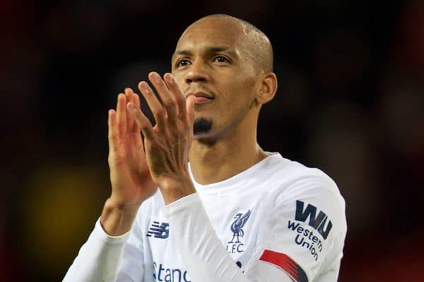 MANCHESTER, ENGLAND - Saturday, October 19, 2019: Liverpool's Fabio Henrique Tavares 'Fabinho' applauds the travelling supporters after the FA Premier League match between Manchester United FC and Liverpool FC at Old Trafford. The game ended in a 1-1 draw. (Pic by David Rawcliffe/Propaganda)