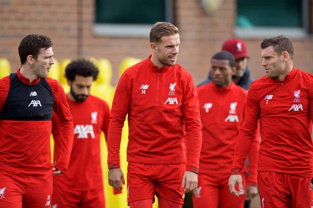 LIVERPOOL, ENGLAND - Tuesday, October 22, 2019: Liverpool's captain Jordan Henderson (C) with Andy Robertson and James Milner during a training session at Melwood Training Ground ahead of the UEFA Champions League Group E match between KRC Genk and Liverpool FC. (Pic by Paul Greenwood/Propaganda)