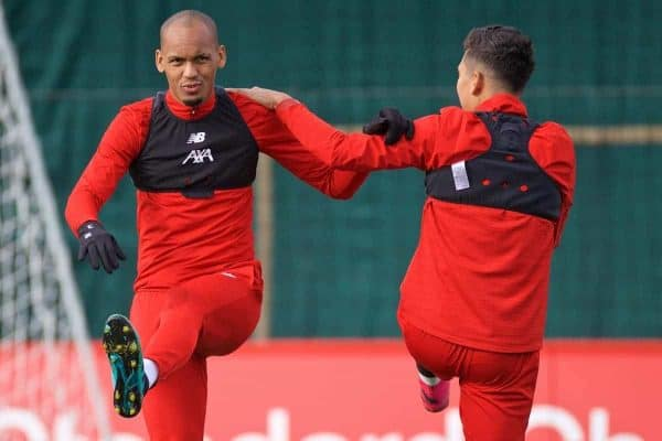 Liverpool's Fabio Henrique Tavares 'Fabinho' during a training session at Melwood Training Ground ahead of the UEFA Champions League Group E match between KRC Genk and Liverpool FC. (Pic by Paul Greenwood/Propaganda)