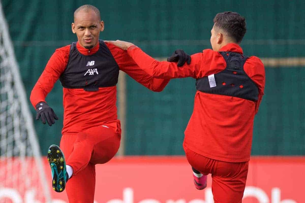 LIVERPOOL, ENGLAND - Tuesday, October 22, 2019: Liverpool's Fabio Henrique Tavares 'Fabinho' during a training session at Melwood Training Ground ahead of the UEFA Champions League Group E match between KRC Genk and Liverpool FC. (Pic by Paul Greenwood/Propaganda)