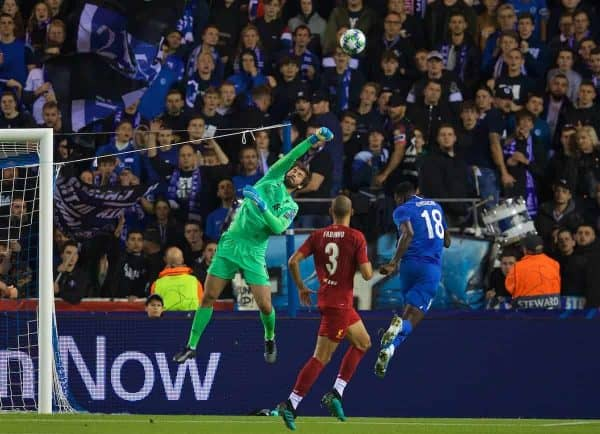 GENK, BELGIUM - Wednesday, October 23, 2019: Liverpool's goalkeeper Alisson Becker during the UEFA Champions League Group E match between KRC Genk and Liverpool FC at the KRC Genk Arena. (Pic by David Rawcliffe/Propaganda)