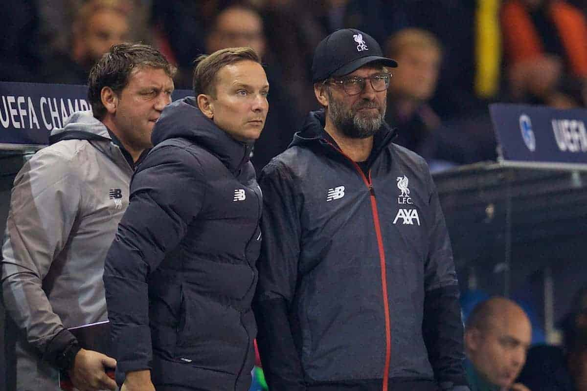 Liverpool's manager Jürgen Klopp (R) and first-team development coach Pepijn Lijnders during the UEFA Champions League Group E match between KRC Genk and Liverpool FC at the KRC Genk Arena. (Pic by David Rawcliffe/Propaganda)