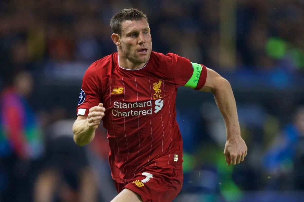 GENK, BELGIUM - Wednesday, October 23, 2019: Liverpool's captain James Milner during the UEFA Champions League Group E match between KRC Genk and Liverpool FC at the KRC Genk Arena. (Pic by David Rawcliffe/Propaganda)