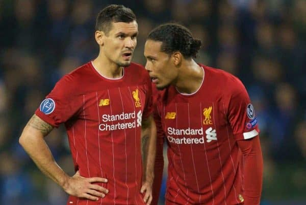 GENK, BELGIUM - Wednesday, October 23, 2019: Liverpool's Dejan Lovren (L) and Virgil van Dijk during the UEFA Champions League Group E match between KRC Genk and Liverpool FC at the KRC Genk Arena. (Pic by David Rawcliffe/Propaganda)