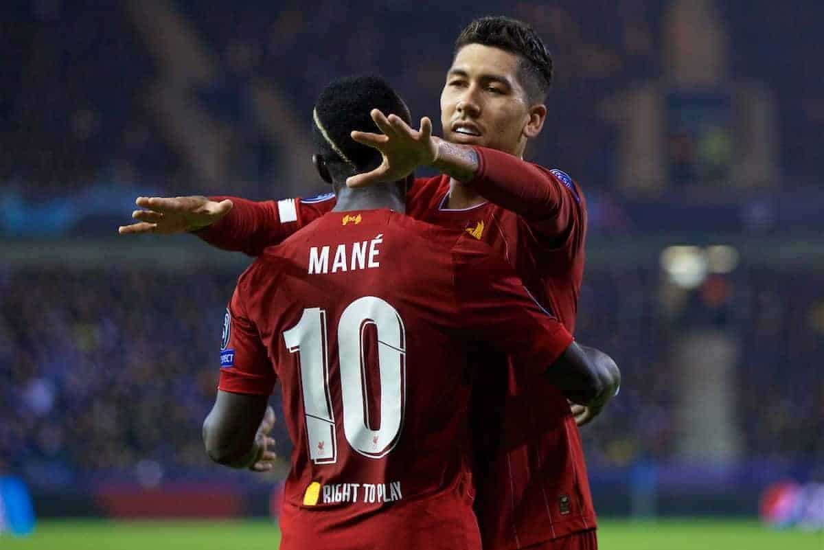 GENK, BELGIUM - Wednesday, October 23, 2019: Liverpool's Sadio Mané (L) celebrates scoring the third goal with team-mate Roberto Firmino during the UEFA Champions League Group E match between KRC Genk and Liverpool FC at the KRC Genk Arena. (Pic by David Rawcliffe/Propaganda)